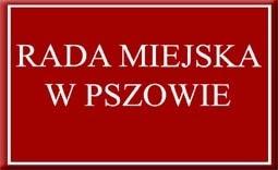 """czerwona tabliczka z napisem """"Rada Miejska w Pszowie""""  - Kliknięcie w obrazek spowoduje wyświetlenie jego powiększenia"""